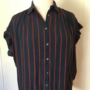 Madewell Blouse Size XS Cap Sleeve Striped